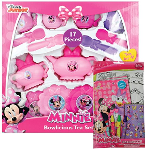 17 Piece Disney Minnie Mouse Bowlicious Tea Set w  Bonus Coloring Fun Set by Disney