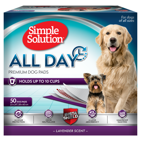 Simple Solution 6-Layer All Day Premium Dog Pads, 23 x 24, Lavender Scent, 50 pads ()