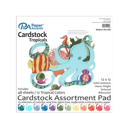 12x12 Shaped Cardstock - Cardstock Pad 12x12 48pc Tropical Assortment