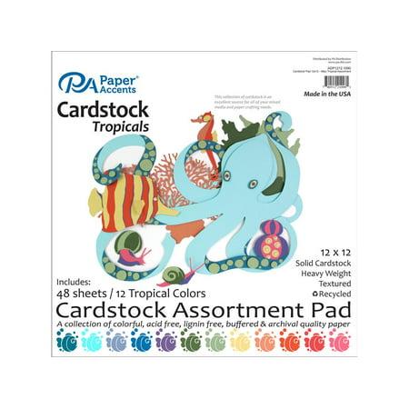 Cardstock Pad 12x12 48pc Tropical Assortment Cardstock 12x12 Scrapbook Paper