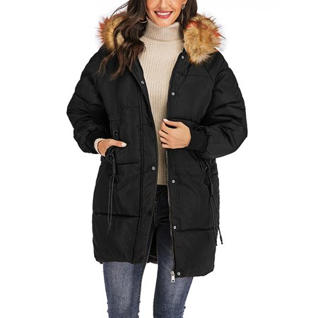 SAYFUT Long Puffer Hooded Coat for Womens Winter Plus Size Button Front Puffer Down Jackets Coats Outwear with Fuax Fur Collar Trim ()