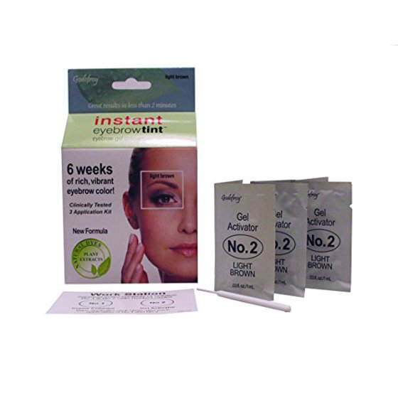 Godefroy Instant Eyebrow Tint Eyebrow Gel Colorant Light Brown 3 Ea