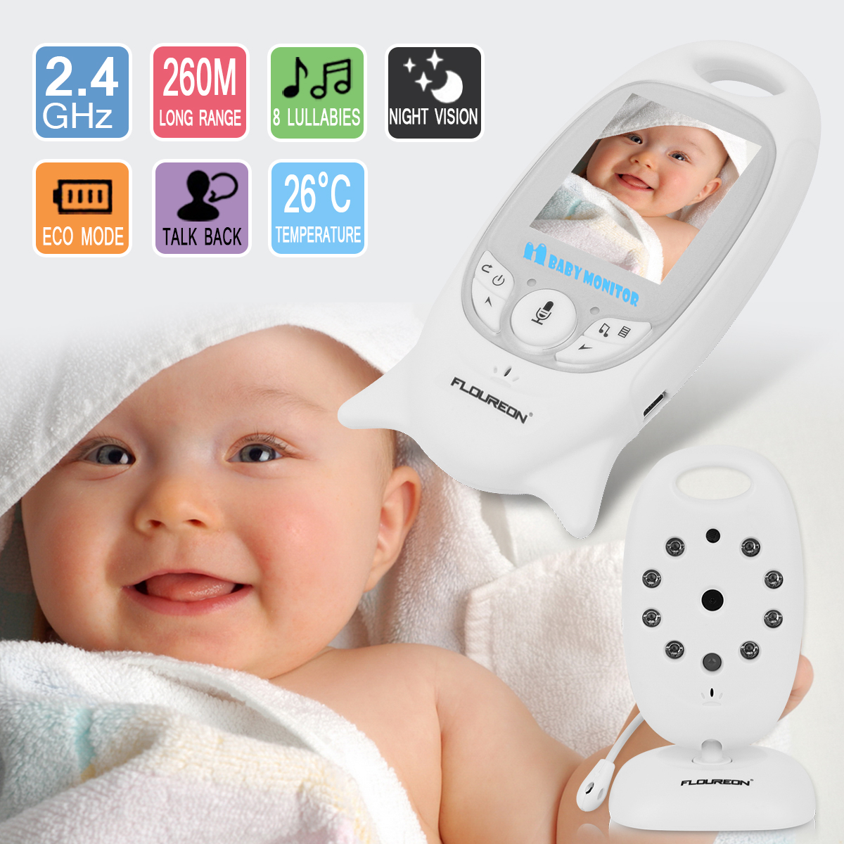 Baby Monitor, Video Baby Monitor with Camera- Wireless Video Monitor for Baby Safety- with Infrared Night Vision/Two Way Talkback/Temperature Monitor/Lullaby-play
