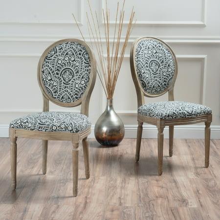 Noble house nico black and white damask fabric dining for Black and white fabric dining chairs