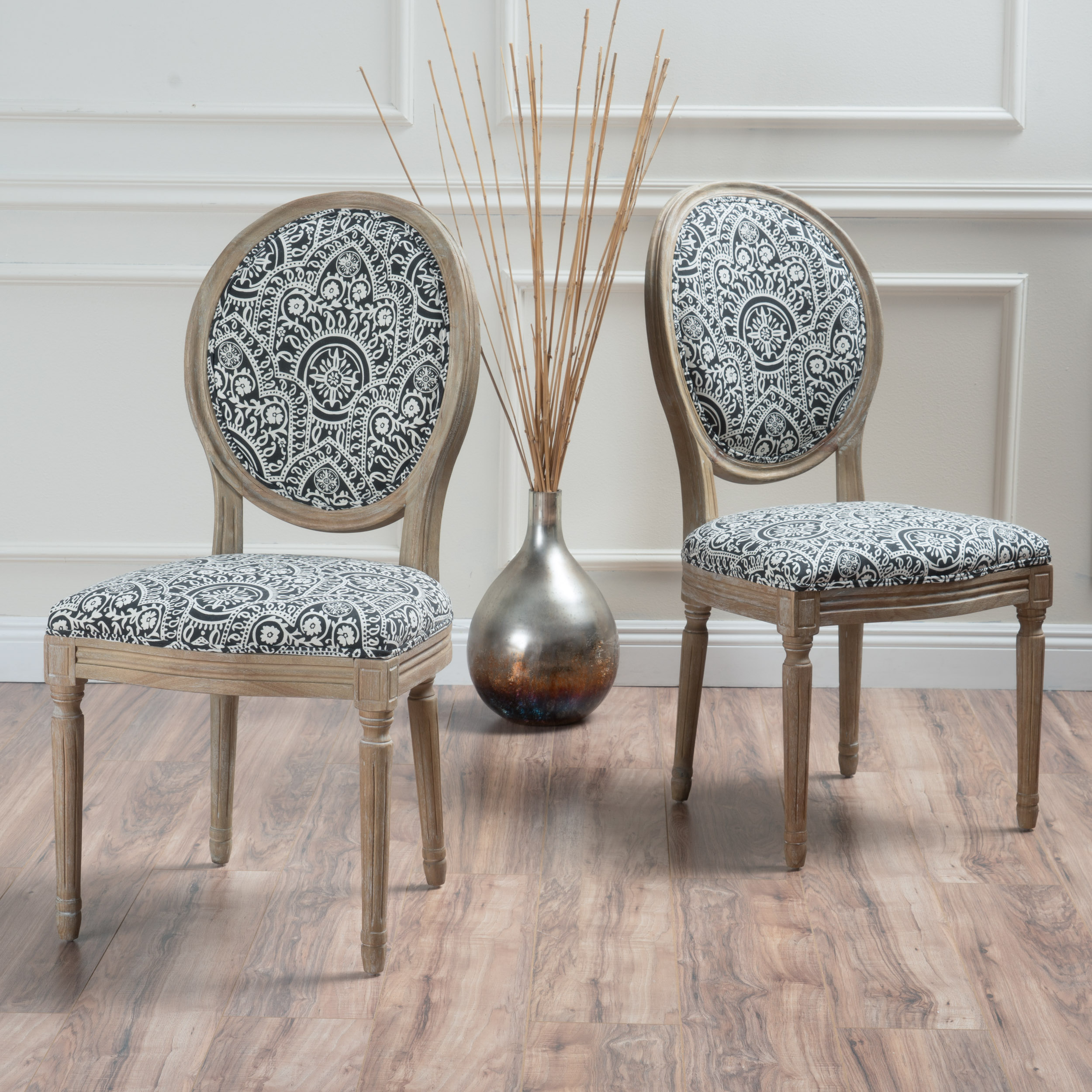 Noble House Nico Black and White Damask Fabric Dining Chair (Set of 2)