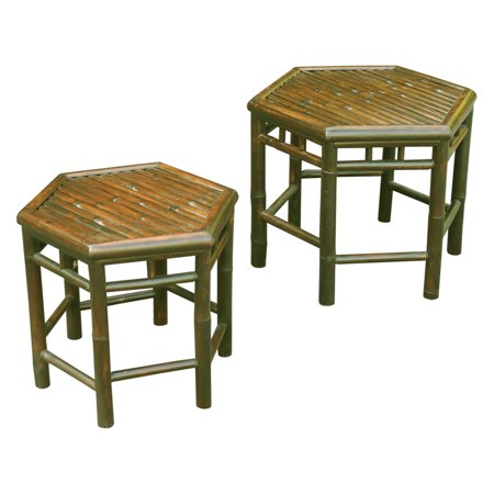 Bamboo Set Table (Zew Hand Crafted Bamboo Indoor/Outdoor End Tables - Set of 2 )