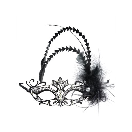 Masks Int'l Womens Black Metal Masquerade Mask Rhinestones Black Feathers