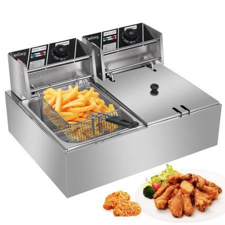 Zimtown Commercial 12L 5000W Professional Electric Countertop Deep Fryer Dual Tank Stainless Steel for Restaurant (Double Deep Fryer Commercial)