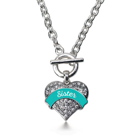 Teal Sister Pave Heart Toggle Necklace