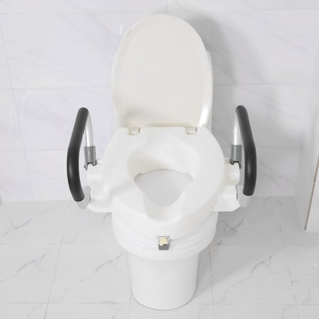 Magnificent Ejoyous 10Cm Elevated Raised Toilet Seat With Lid Removable Padded Arms White Disability Aid Toilet Seat Adjustable Raised Toilet Seat Gmtry Best Dining Table And Chair Ideas Images Gmtryco