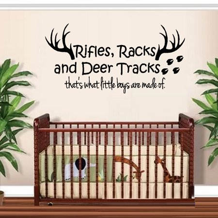 Decal ~ Rifles Racks and Deer Tracks, that's what little boys are made of #1 ~ Children Wall Decal 13