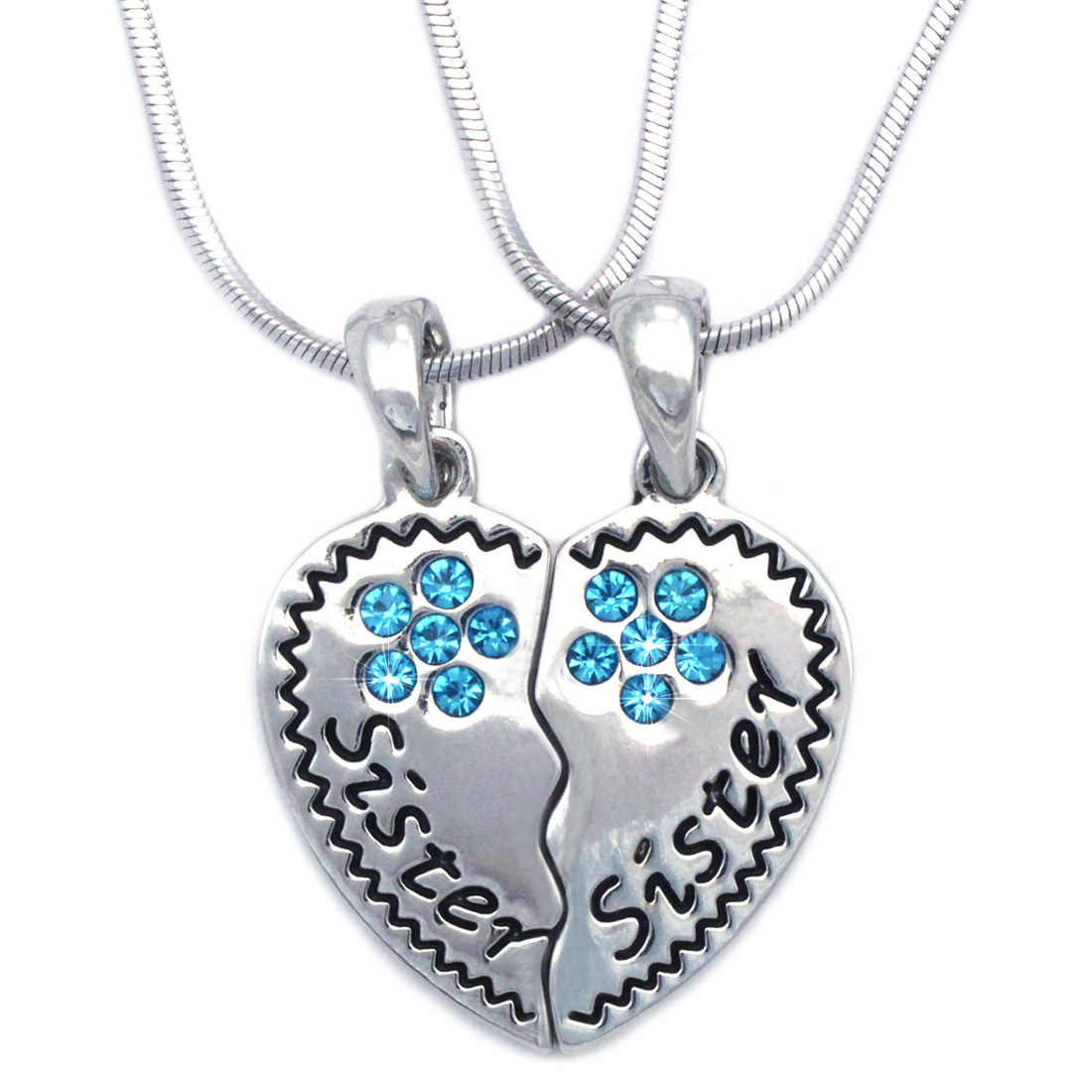 cocojewelry Sister Sister Best Friends BFF Heart Flower Necklace Gift Box