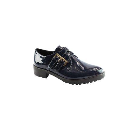 - Liyu Adult Blue Patent Double Buckle Strap Elegant Oxford Shoes