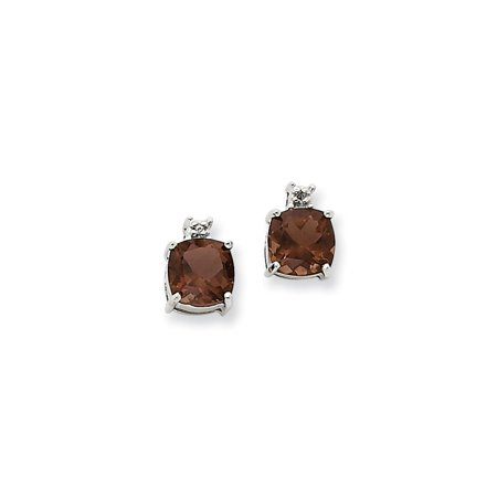 Solid 14k White Gold Chocolate Brown Smoky Quartz and Diamond Post Studs Earrings - 10mm x 5mm (.01 cttw.) Smoky Quartz Chandelier Earrings