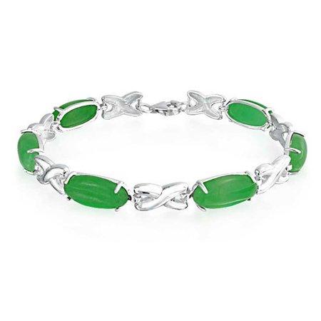 Blood Jade Bracelet (925 Silver Oval Green Jade Hugs and Kisses XO Link Bracelet 7.5in )
