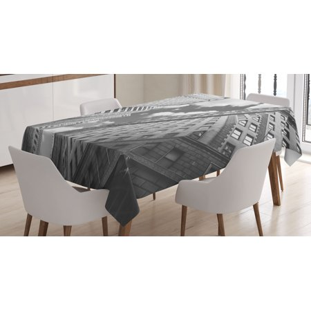 Black and White Tablecloth, Urban Decor Skyscrapers in Manhattan and the Cloudy Sky Digital Print, Rectangular Table Cover for Dining Room Kitchen, 60 X 84 Inches, Black and White, by