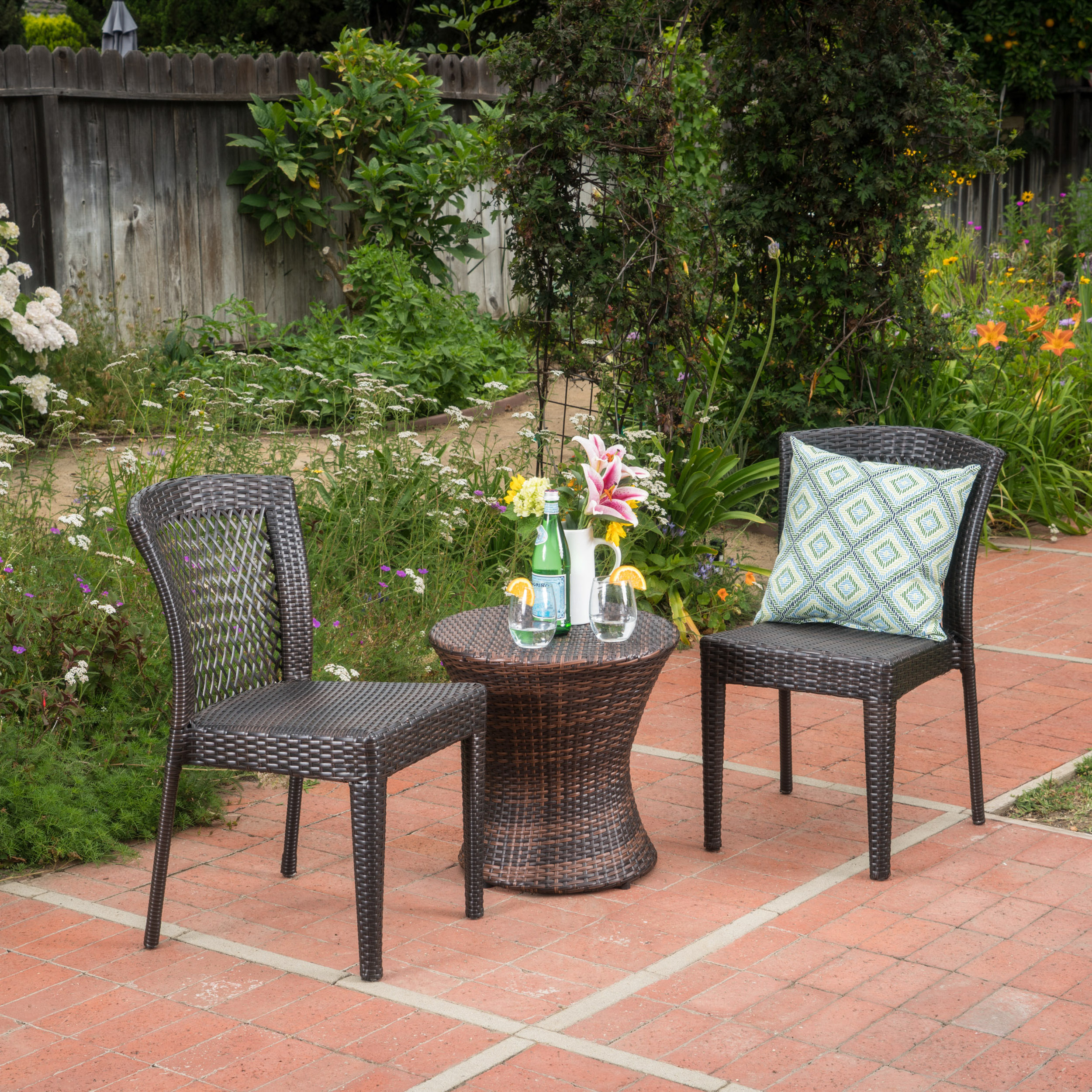Talia Outdoor 3 Piece Wicker Stacking Chair Chat Set, Multibrown