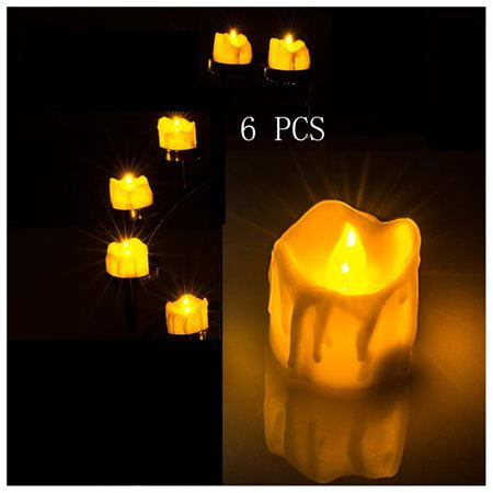 6 PCS Flameless Smokeless LED Tealight Candles Battery Operated for Wedding / Party Amber Yellow