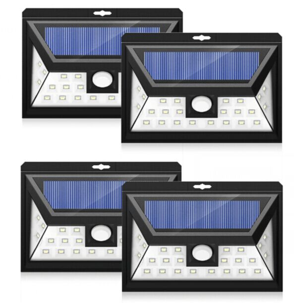 24 LED Outdoor Motion Sensor Solar Lights Wide Angle Design With 3 LEDs Both Side For Driveway (4 Pack) by