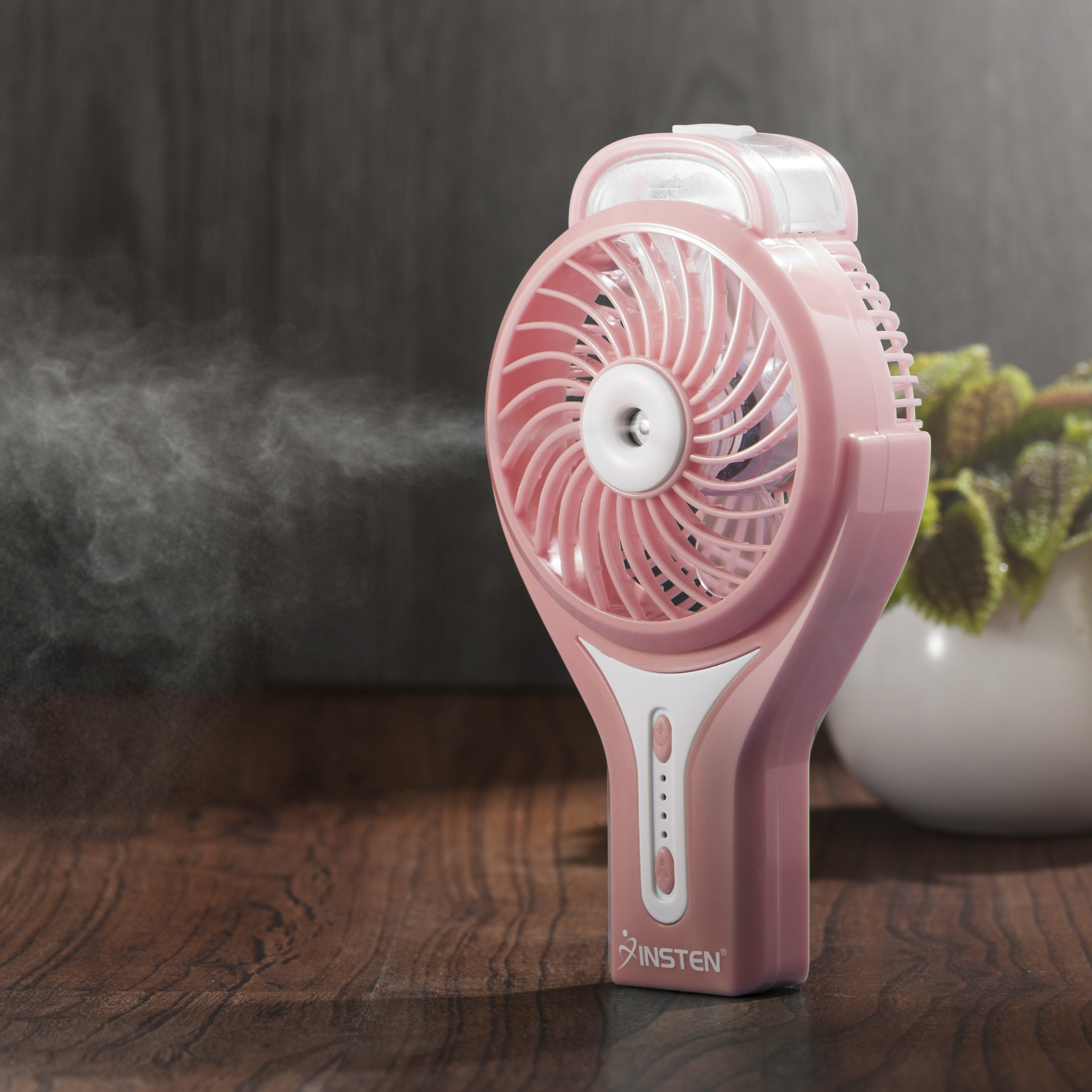 Insten Portable Electric Water Misting Fan - Silent Personal Mini Handheld Cooling Mister Humidifier Cooler (Includes Battery Charging USB Cable)-Pink
