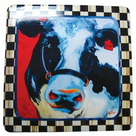 Barnyard Farm Theme Display Tablet with Black and White Cow Decoration