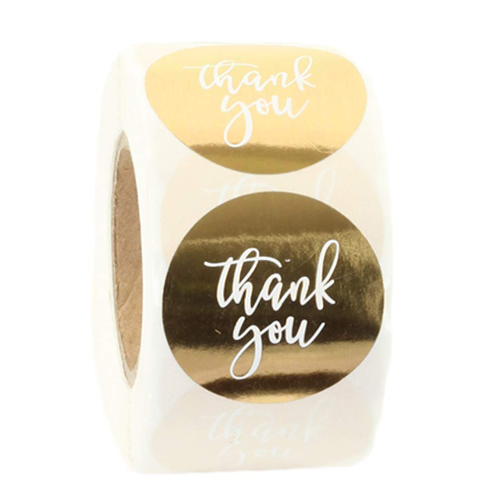 Gift Bags Foil Pink Decoration Thank You Stickers Roll 1.5 Thank You Stickers Small Business Foil Thank You Tags 500 Labels//Roll for Envelope Boxes