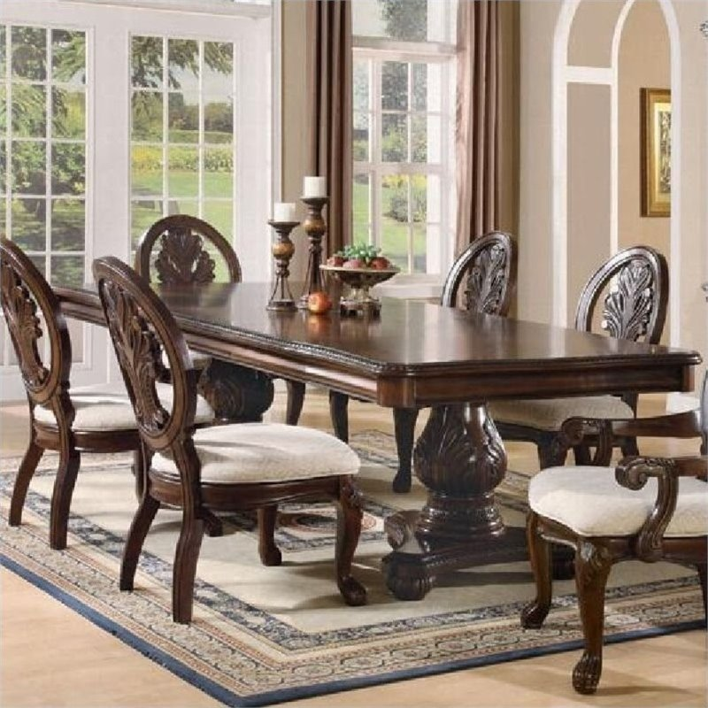 Bowery Hill Double Pedestal Dining Table in Dark Cherry by Bowery Hill