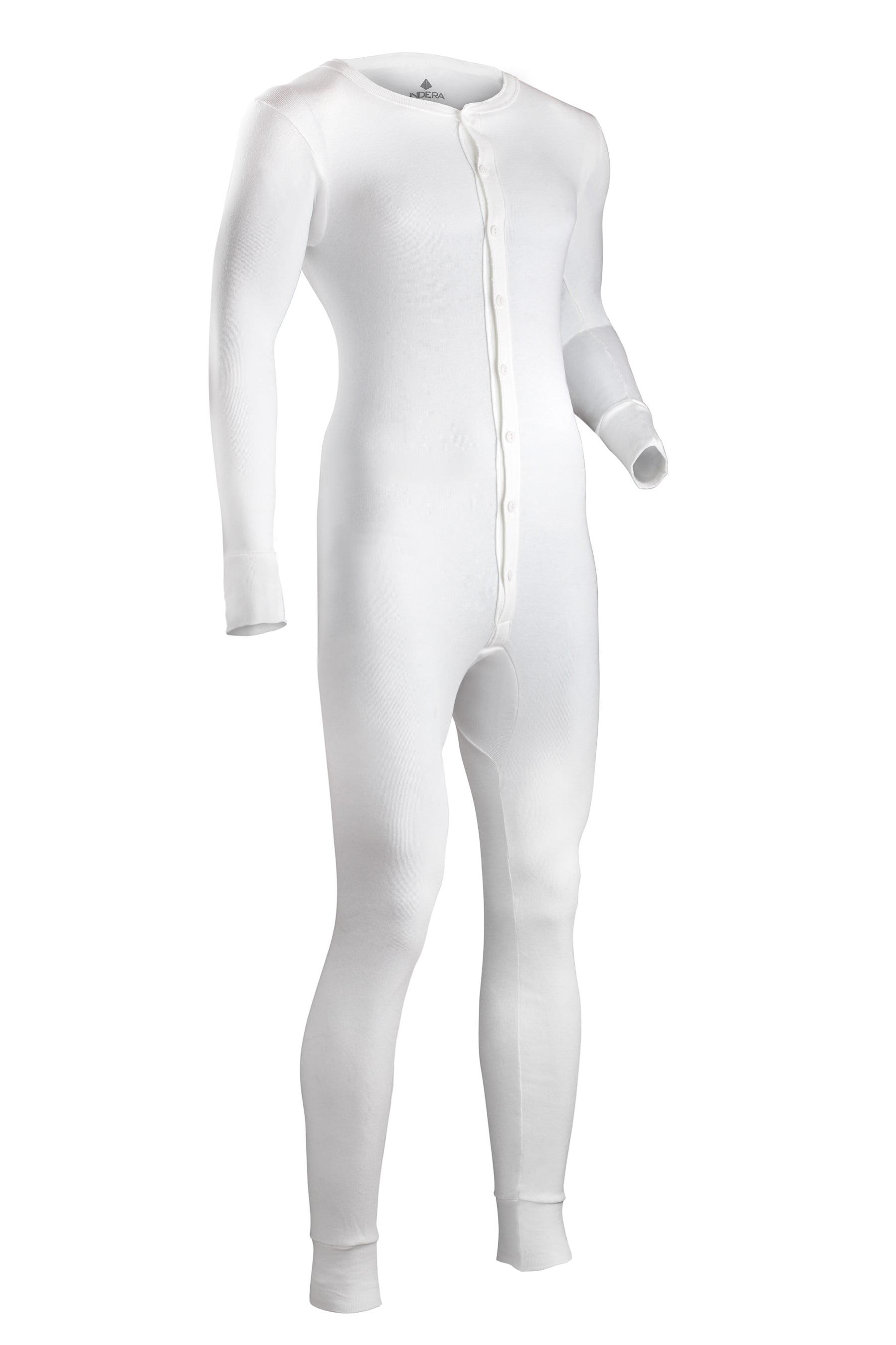 Indera Mens Cotton 1 x 1 Rib Union Suit