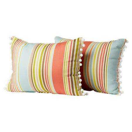 db14a6cc9aab8 Brayden Studio Melcher Deck Chair Ball Fringe Shell Cotton Throw Pillow  (Set of 2) - Walmart.com