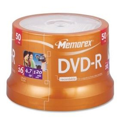 Memorex 05639 4.7 GB DVD-R with Spindle, 50 pk
