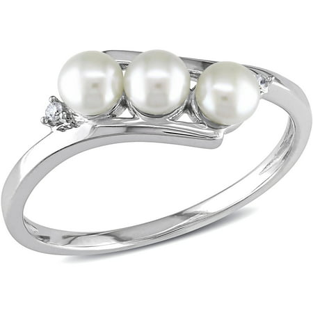 3.5-4mm White Cultured Freshwater Pearl and Diamond-Accent 10kt White Gold Bypass Ring (Lenox Pearl Ring)