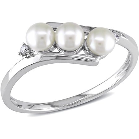 3.5-4mm White Cultured Freshwater Pearl and Diamond-Accent 10kt White Gold Bypass Ring