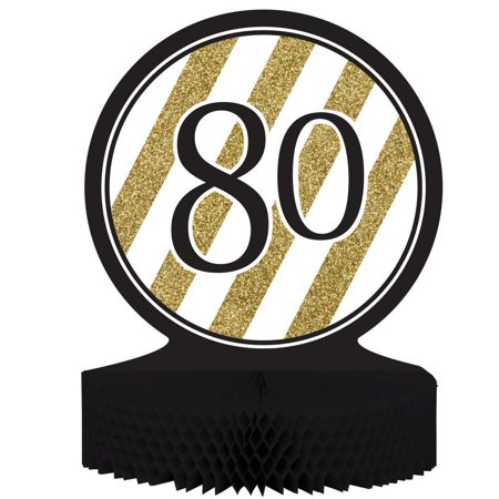 80th Centerpieces (Creative Converting Black And Gold 80th Birthday)