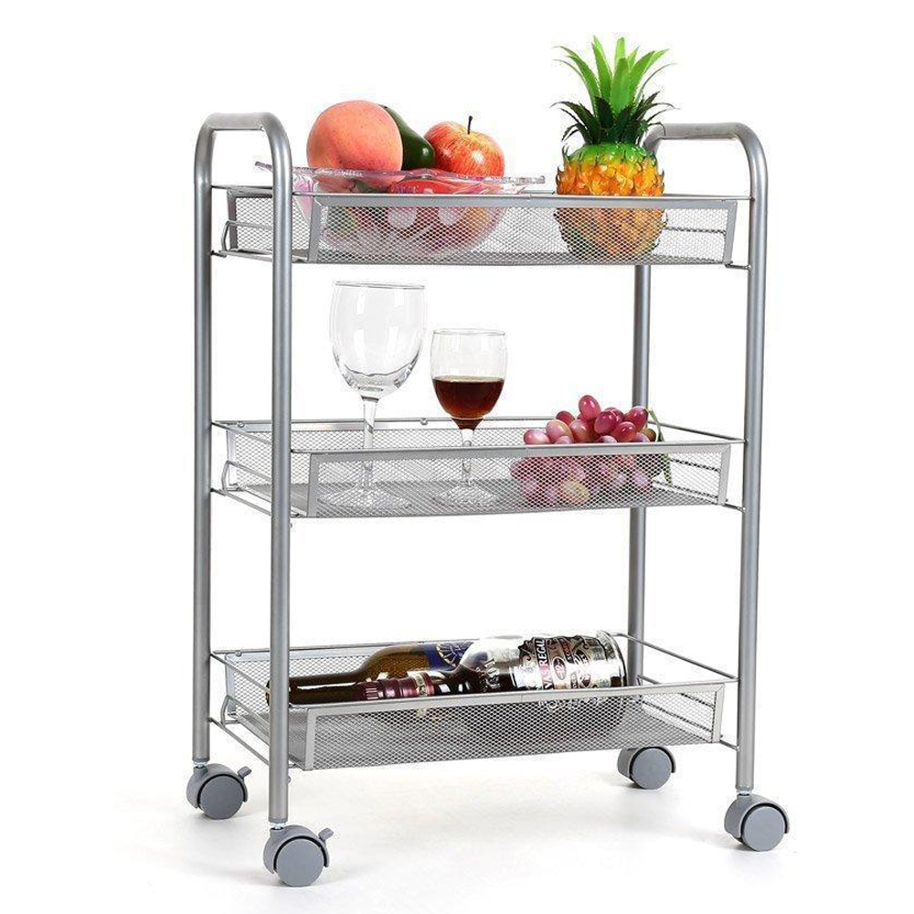 UBesGoo 3-Tires Rolling Cart Heavy Duty Storage Metal Mesh Basket on Wheels for Kitchen, Bathroom,Living Room,Office