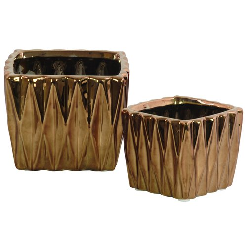 Urban Trends Ceramic 2 Piece Square with Triangle Table Vase Set