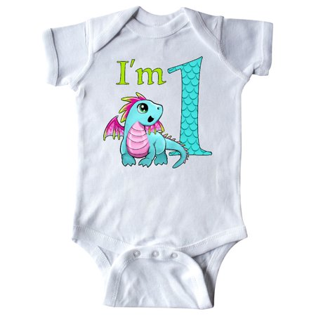 Blue and Pink Baby Dragon First Birthday Infant Creeper
