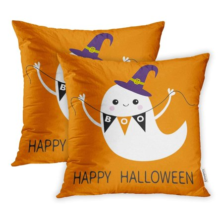 ECCOT Flying Ghost Spirit Holding Bunting Flag Boo Witch Hat Happy Halloween Scary Pillowcase Pillow Cover 16x16 inch Set of 2 (Spirit Halloween Flying Witch)