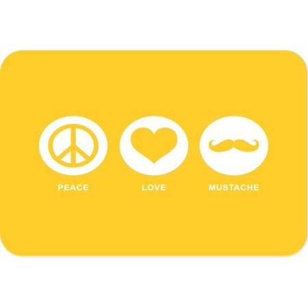 Rikki Knight Peace Love Mustache Yellow Color Large Glass Cutting Board](Chops And Mustache)