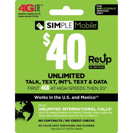 (Email Delivery) Simple Mobile Monthly $40 Unlimited 30 Day Plan