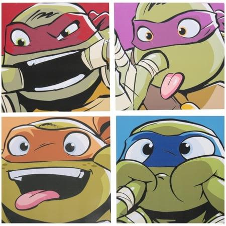 Nickelodeon Teenage Mutant Ninja Turtles Canvas Wall Art 4 pc Pack - Ninja Turtle Painting