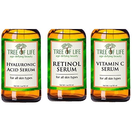 Anti Aging Serum Combo Pack - Highly Natural and Organic - Vitamin C Serum - Retinol Serum - Hyaluronic Acid Serum - Anti Aging Serums for Daytime and Nighttime (Best Over The Counter Retinol Treatment)