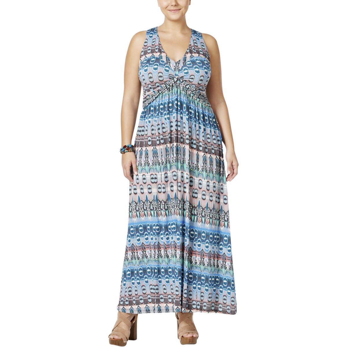 Jessica Simpson Womens Plus Poplin Printed Maxi Dress