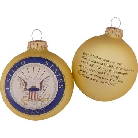 "Christmas by Krebs Seamless Navy Hymn and Logo Glass Christmas Ornament 3.25"""