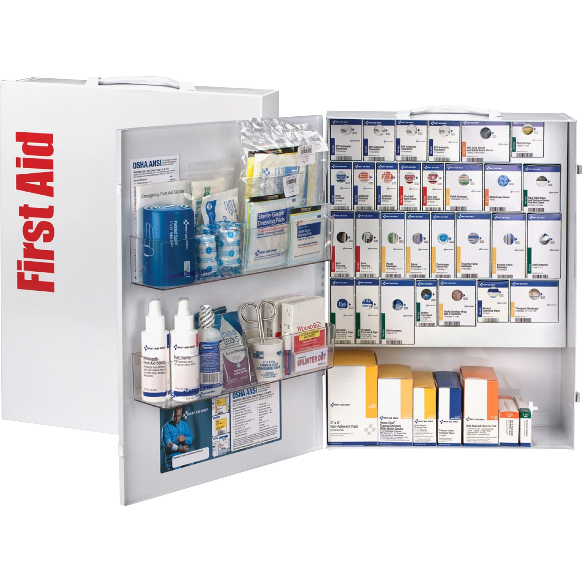 First Aid Only, FAO90829, XL SmartCompliance General Business First Aid Cabinet without Medications, Metal, 1 Each, White