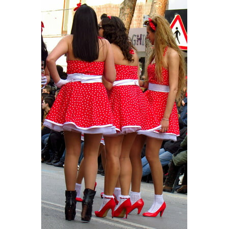 Canvas Print Carnival Parade Mask Costume Skirts Red Girls Stretched Canvas 10 x 14 - Simple Carnival Costumes