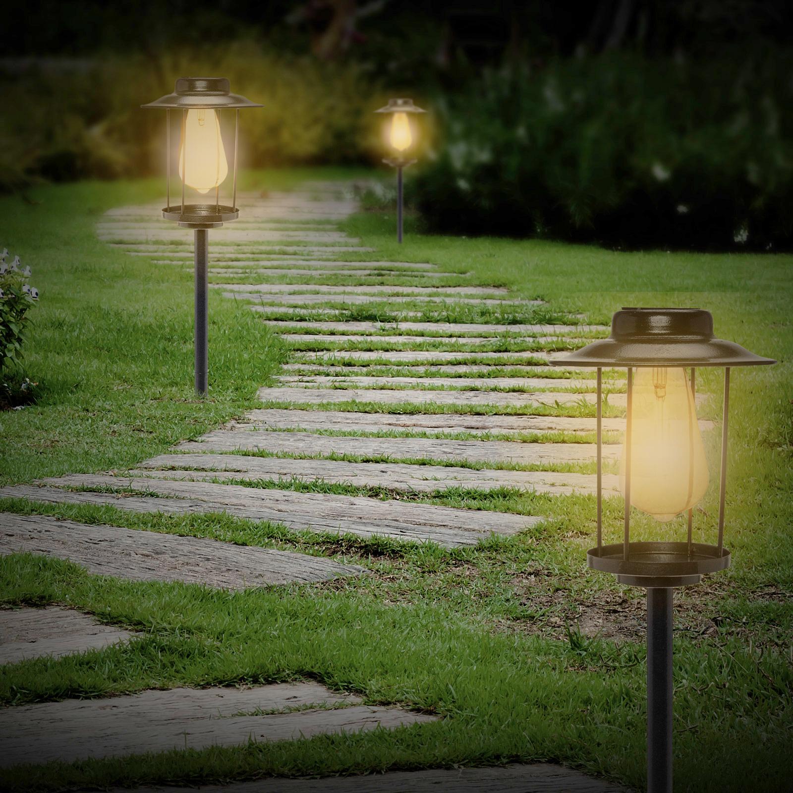 6 Pack GreenLighting Black Solar Industrial Rectangular Path Light w Edison Bulb