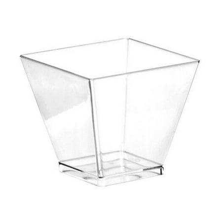 Disposable Mini 3.5 oz Square Heavy Clear Plastic Cups, 10 Per - 3.5 Oz To Cups