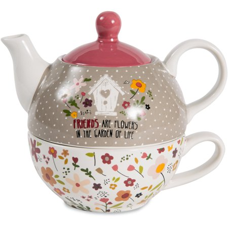 English Garden Teapot - Pavilion - Friends Are Flowers In The Garden Of Life - Floral Tea For One 15 oz Teapot and 8 oz Teacup Set with Lid