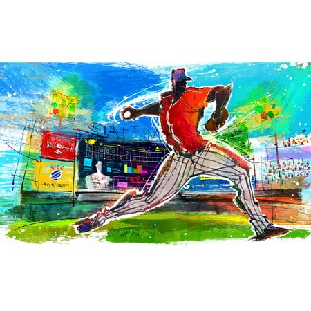 (Baseball Player Throwing Ball In Stadium Illustration Art Print Poster 18x12 inch)