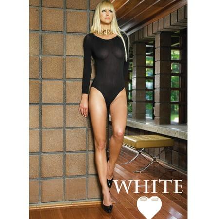 Leg Avenue 140D Opaque Long Sleeved Bodysuit - White - One